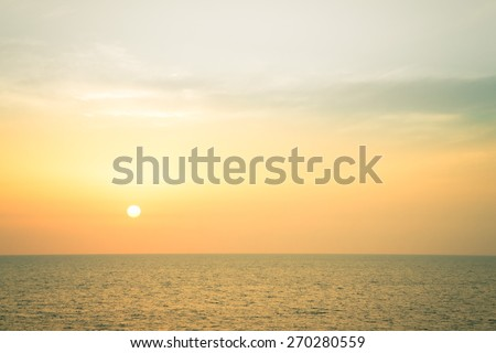 Sunset over the Mediterranean Sea. Toned. - stock photo