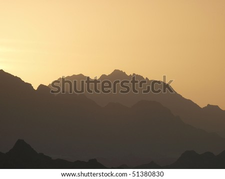 Sunset over the Mountains in Sinai Peninsula, Egypt