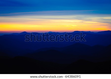 Sunset over the mountains on the Blue Ridge Parkway - stock photo