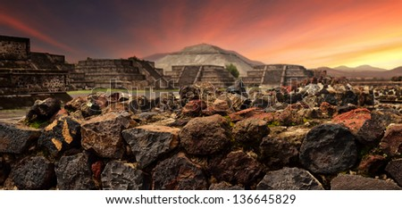 Sunset over the mystical ruins of the ancient Mayan city of Teotihuacan.panoramic view - stock photo