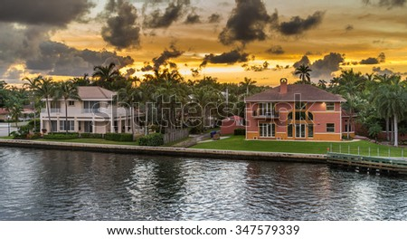 Sunset over the neighbourhood in south florida - stock photo