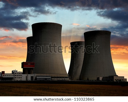 Sunset over the nuclear power plant Temelin in Czech Republic Europe - stock photo
