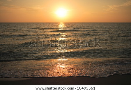 Sunset over the ocean on the Gulf Coast of Florida. - stock photo