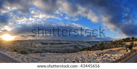 sunset over the old city of Jerusalem - stock photo