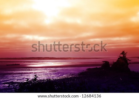 Sunset over the Pacific Coast near Lincoln City, Oregon - stock photo