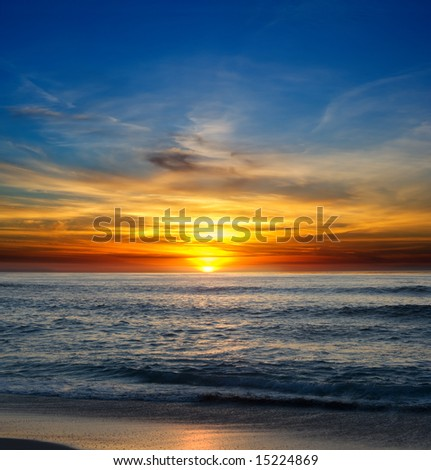 Sunset over the Pacific Ocean from La Jolla, California - stock photo