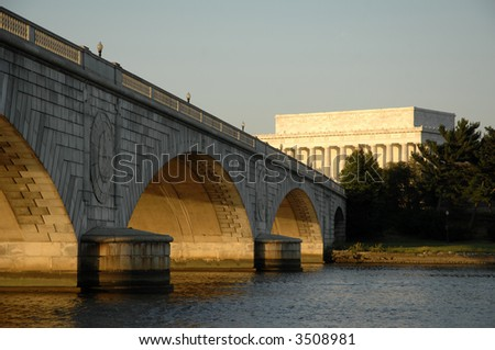 sunset over the Potomac River at the Lincoln Memorial in Washington, DC - stock photo