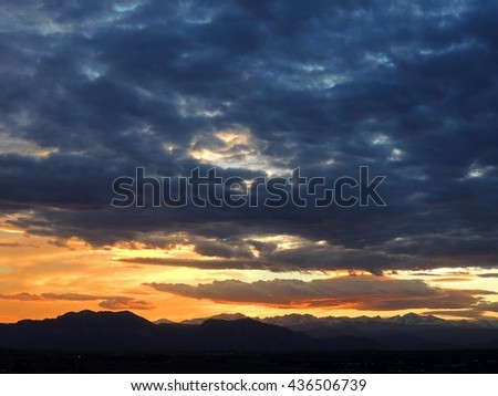 sunset over the rocky mountains as seen from Broomfield, colorado