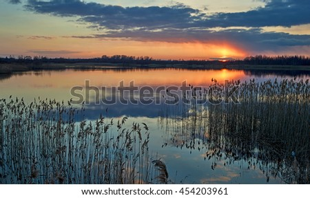 Sunset over the Russian lake
