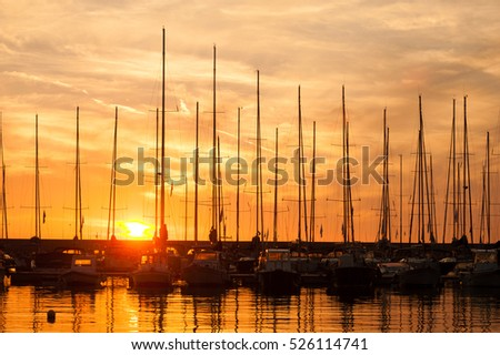 Sunset over the sailboats