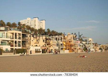 Sunset Over the Santa Monica Strip - stock photo