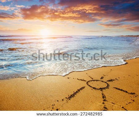 Sunset over the sea. - stock photo
