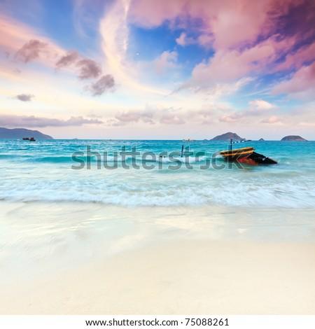 Sunset over the sea. Con Dao. Vietnam - stock photo