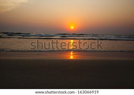 Sunset over the sea, Goa, India - stock photo