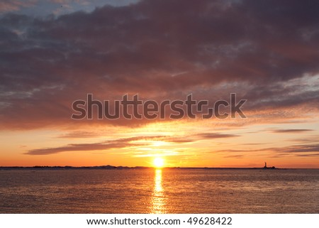 Sunset over the sea in winter