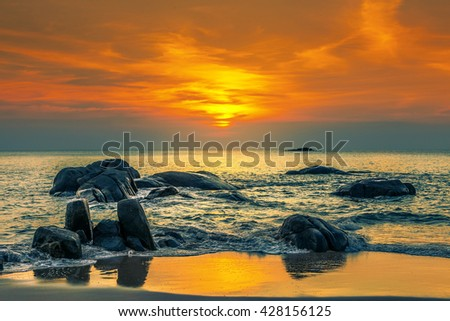 Sunset over the sea. Province Khao Lak in Thailand. - stock photo