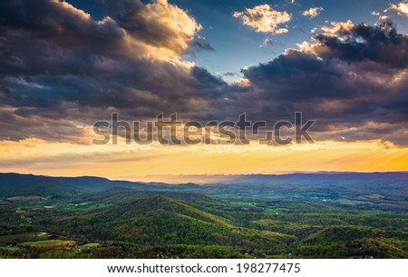 Sunset over the Shenandoah Valley from Skyline Drive in Shenandoah National Park, Virginia. - stock photo