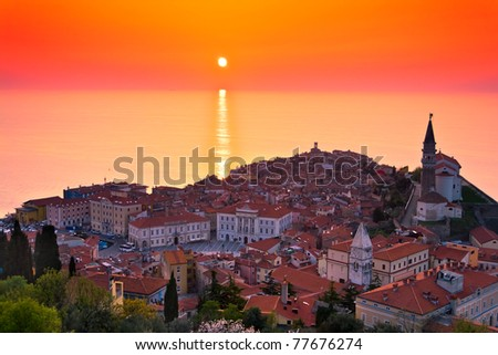 Sunset over the Slovenian Coast (Piran) - stock photo