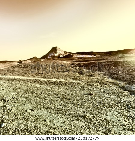 Sunset over the Stony Desert in Israel, Vintage Style Toned Picture - stock photo