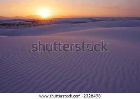 Sunset over the White Sands National Park, New Mexico, USA. - stock photo