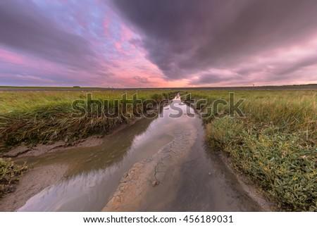 Sunset over tidal creek in tidal wetland at Waddensea, Friesland, Netherlands - stock photo