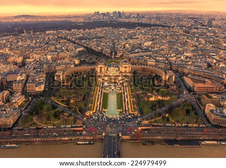 Sunset over Trocadero with the Palais de Chaillot seen from the Eiffel Tower in Paris,France. - stock photo