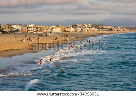 Sunset over Venice Beach in California. - stock photo