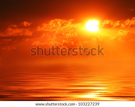 Sunset over water surface - stock photo