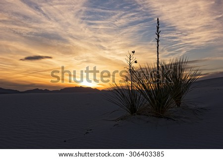 Sunset Over White Sands National Monument In New Mexico - stock photo