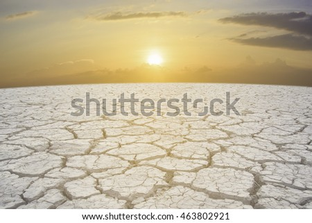 sunset ower a dry land background