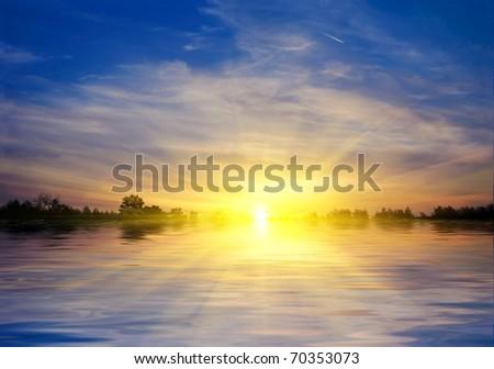 sunset panorama - stock photo
