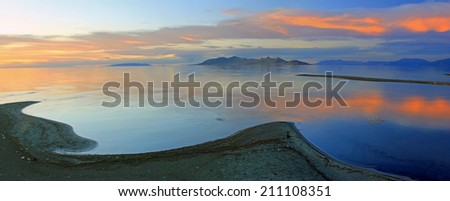 Sunset panorama at the Great Salt Lake, Utah, USA. - stock photo