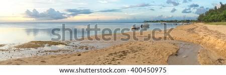 Sunset panorama of Albion Beach Mauritius - stock photo