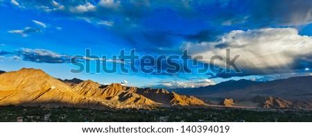 Sunset panorama of Leh city. Ladakh, Jammu and Kashmir, India - stock photo