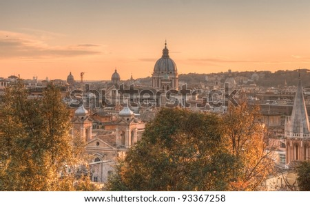 Sunset panorama of Rome and its churches, Rome, Lazio, Italy