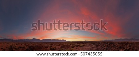 sunset panorama on the volcanic tablelands near Bishop California
