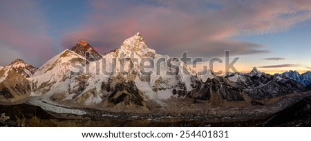 Sunset panorama over the Everest mountain. View from Kalapatar. You can see also Nuptse, Ama Dablam, Khumbu glacier and icefall. - stock photo