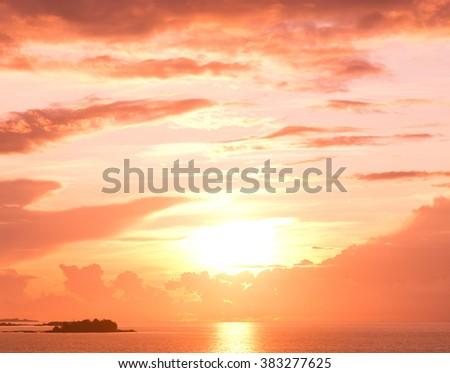Sunset Paradise Bay View  - stock photo