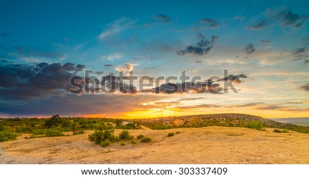 Sunset, Petrified Dunes, Arches National Park, UT - stock photo