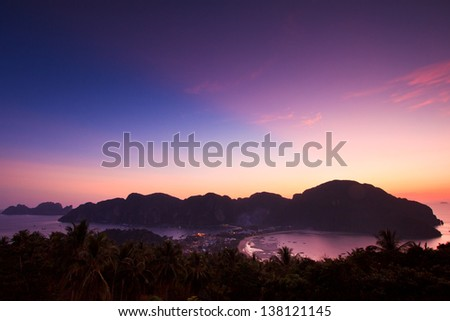 sunset Phi Phi Island Tropical colorful Thailand - stock photo