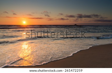 Sunset photo taken on the Oregon coast (pacific ocean) during a nice summer evening. - stock photo