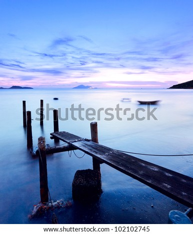 sunset pier - stock photo