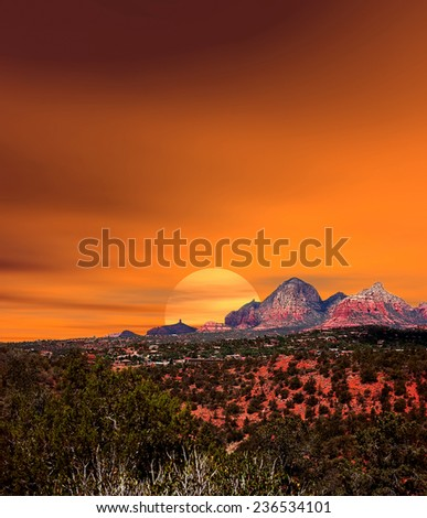 Sunset Red Rock country mountains surrounding Sedona Arizona - stock photo