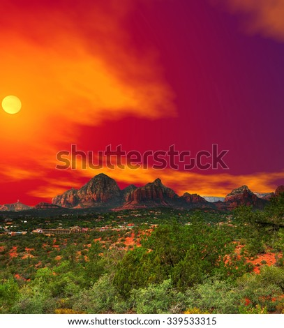 Sunset Red Rock country mountains surrounding Sedona Arizona - stock photo