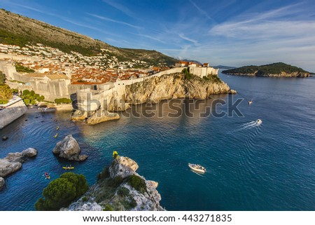 Sunset reflect on the old town of Dubrovnik, unesco world heritage, Croatia - stock photo