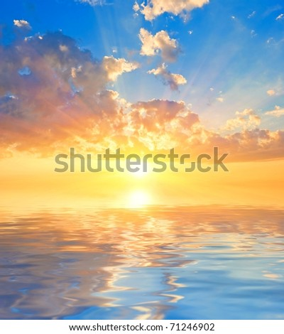 sunset reflected in a water