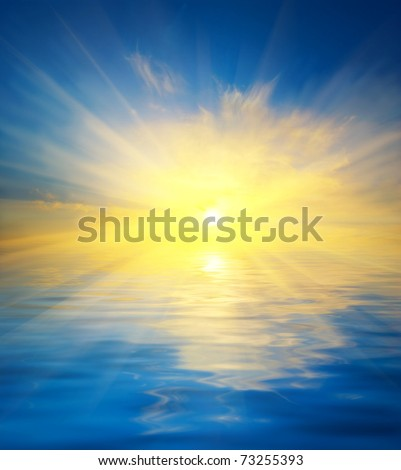 sunset reflected in a water - stock photo