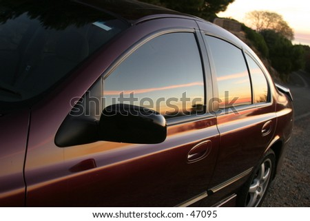 Sunset reflecting on a car...