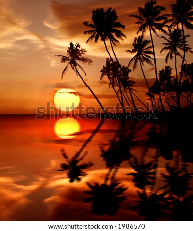 Sunset reflection - stock photo