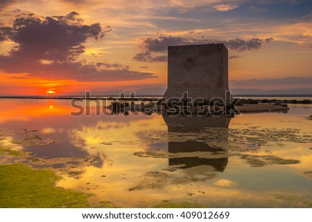 Sunset reflection in Santa Pola saltworks